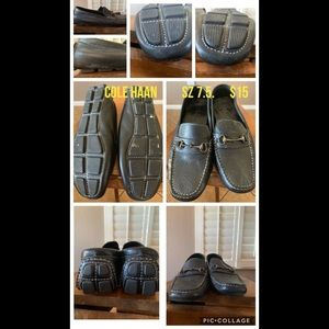 Cole haan black leather driving moc